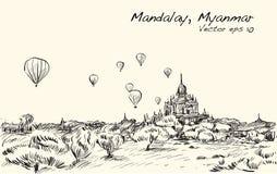 Esquissez le paysage de Mandalay, Manmar, ballon d'exposition sur le ciel au-dessus de B Photos stock