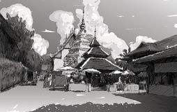 Esquissez le paysage urbain de Chiangmai, Thaïlande, montrez le temple local Wat D Images stock