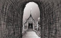 Esquissez le paysage urbain de Chiangmai, Thaïlande, montrez le temple local Wat L Photos libres de droits