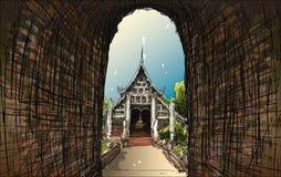 Esquissez le paysage urbain de Chiangmai, Thaïlande, montrez le temple local Wat L Photos stock