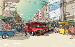 Esquissez le paysage urbain de Chiangmai, Thaïlande, montrez le tran rouge de gens du pays de voiture Images stock