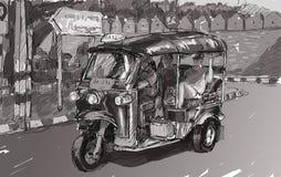 Esquissez le paysage urbain de Chiangmai, Thaïlande, montrez le tricyc local de moteur Photos stock