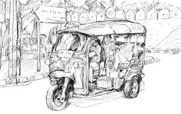 Esquissez le paysage urbain de Chiangmai, Thaïlande, montrez le tricyc local de moteur Photographie stock