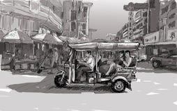 Esquissez le paysage urbain de Chiangmai, Thaïlande, montrez le tricyc local de moteur Photo stock