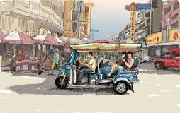 Esquissez le paysage urbain de Chiangmai, Thaïlande, montrez le tricyc local de moteur Image libre de droits