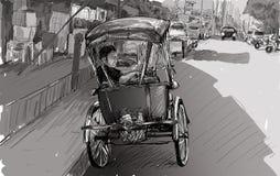 Esquissez le paysage urbain de Chiangmai, Thaïlande, montrez le tricycle local et Photos stock
