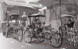 Esquissez le paysage urbain de Chiangmai, Thaïlande, montrez le tricycle local et Photo libre de droits
