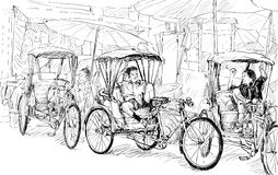 Esquissez le paysage urbain de Chiangmai, Thaïlande, montrez le tricycle local et Images stock