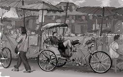 Esquissez le paysage urbain de Chiangmai, Thaïlande, montrez le tricycle local et Images libres de droits