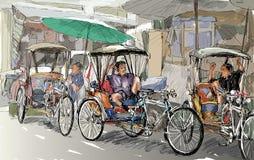 Esquissez le paysage urbain de Chiangmai, Thaïlande, montrez le tricycle local et Photo stock