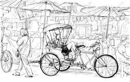 Esquissez le paysage urbain de Chiangmai, Thaïlande, montrez le tricycle local et Image libre de droits