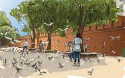 Esquissez le paysage urbain de Chiangmai, Thaïlande, porte Tha Phae d'exposition et illustration de vecteur