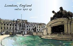 Esquissez le paysage urbain de Londres Angleterre, l'espace public d'exposition, monuments Photographie stock