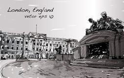 Esquissez le paysage urbain de Londres Angleterre, l'espace public d'exposition, monuments Images stock