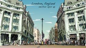 Esquissez le paysage urbain de Londres, Angleterre, rue de promenade de peuples d'exposition Images libres de droits