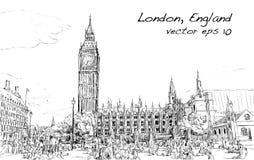 Esquissez le paysage urbain de Londres Big Ben et les maisons du parlement Photographie stock libre de droits