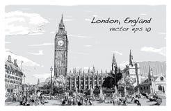 Esquissez le paysage urbain de Londres Big Ben et les maisons du parlement Image stock