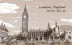 Esquissez le paysage urbain de Londres Big Ben et les maisons du parlement Photo libre de droits