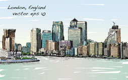 Esquissez le paysage urbain de Londres, de l'Angleterre, d'horizon d'exposition et de bâtiments Photo stock