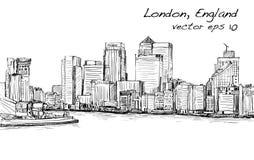 Esquissez le paysage urbain de Londres, de l'Angleterre, d'horizon d'exposition et de bâtiments Photos libres de droits