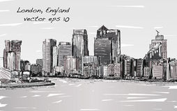 Esquissez le paysage urbain de Londres, de l'Angleterre, d'horizon d'exposition et de bâtiments Image stock