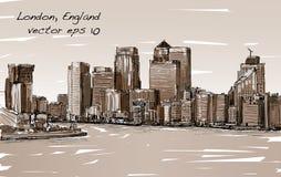 Esquissez le paysage urbain de Londres, de l'Angleterre, d'horizon d'exposition et de bâtiments Photos stock