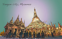 Esquissez le paysage urbain de Yangon, image de Myamar de pagoda de Shwedagon Photo libre de droits
