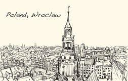Esquissez le paysage urbain ville de Pologne, Wroclaw, illustr d'aspiration de carte blanche Images libres de droits