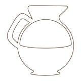 esquissez le pot en verre de découpe de café avec la poignée illustration de vecteur