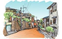 Esquissez le scape de ville du village local à Yokohama Japon, carte blanche Photographie stock libre de droits