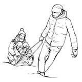 Esquissez les jeunes couples heureux ayant l'amusement, sledding Image stock