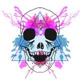 Esquissez les os de hippie de la tête dans le cadre de triangle avec le watercol Photo stock