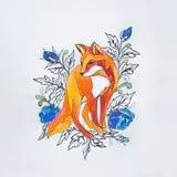 Esquissez les renards dans les fleurs sur un fond blanc photo libre de droits