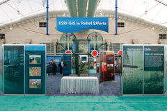 ESRI Booth for GIS in Relief Efforts. SAN DIEGO - JULY 13: ESRI (Environmental Systems Research Institute) user conference is the biggest GIS (Geographic stock image