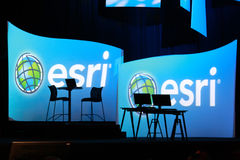 ESRI Logo and Computers. SAN DIEGO - JULY 12: ESRI (Environmental Systems Research Institute) user conference is the biggest GIS (Geographic Information Systems royalty free stock images