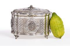 Esrog srebra pudełko Z Esrog Obraz Royalty Free