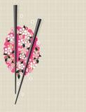 Ess-Stäbchen auf traditionellem asiatischem Muster vektor abbildung