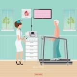 Essai d'ECG ou test de tension d'exercice pour la maladie cardiaque sur le tapis roulant Photo stock