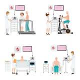 Essai d'ECG ou test de tension d'exercice pour la maladie cardiaque sur le tapis roulant Photos libres de droits