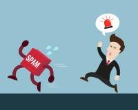 Essai d'homme d'affaires pour attraper le Spam Illustration de Vecteur