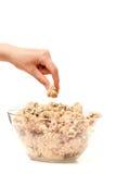 Essai de dégustation de la pâte de biscuit Photos stock