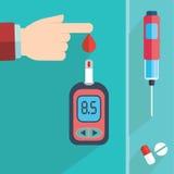 Essai de glucose sanguin de diabète - main s'appliquant la baisse de sang à la bande d'essai du mètre de glucose - ensemble plat  Photo stock
