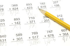 Essai de maths Photos libres de droits
