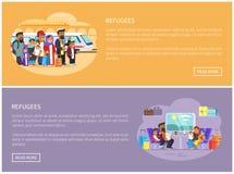 Essai de réfugiés pour quitter le pays par des pages Web de train illustration stock