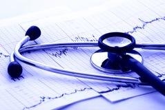 Essai et stéthoscope de cardiologie Photographie stock