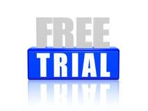 Essai gratuit dans les lettres 3d et le bloc Photos stock