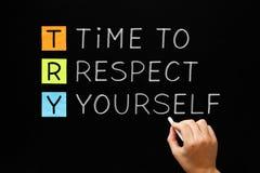 ESSAI - Heure de se respecter Image libre de droits