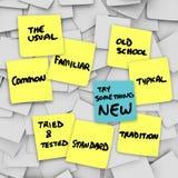 Essai quelque chose secousse courante habituelle normale de nouveau changement il  Image libre de droits