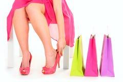 Essai sur des chaussures Image stock