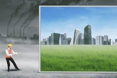 Essais italiens d'ingénieur pour sauver l'environnement Photos stock
